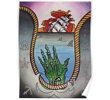 hold fast; sinking ship tattoo flash, zombie tattoo art Poster