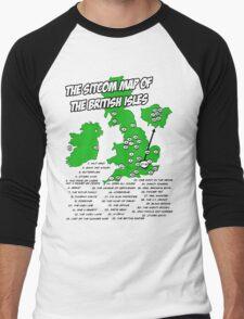 The Sitcom Map of the British Isles Men's Baseball ¾ T-Shirt