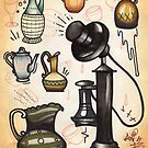 antique telephone, teapots and bottles by resonanteye