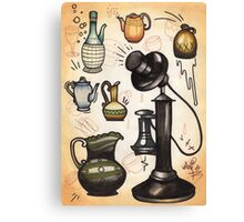 antique telephone, teapots and bottles Canvas Print