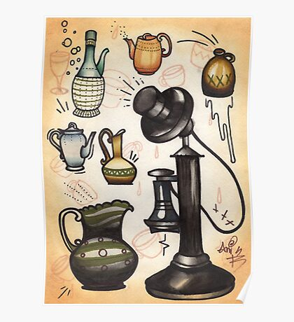 antique telephone, teapots and bottles Poster