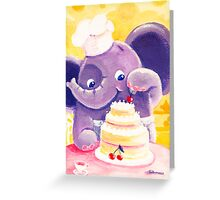 Baking - Rondy the Elephant making a delicious cake Greeting Card