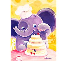 Baking - Rondy the Elephant making a delicious cake Photographic Print