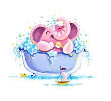 Bath Time - Rondy the Elephant taking a bubble bath Photographic Print