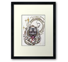 werewolf with rabbit prey, grey, cursed Framed Print