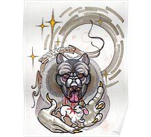 werewolf with rabbit prey, grey, cursed Poster