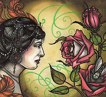 fancy lady with roses tattoo flash, mata hari tattoo art, hypnotic by resonanteye