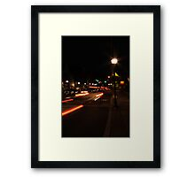 Main street America at dusk Framed Print