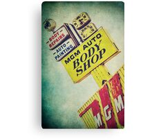 MGM Auto Body Shop Vintage Sign Canvas Print