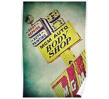 MGM Auto Body Shop Vintage Sign Poster