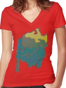 Colored abstract Design Women's Fitted V-Neck T-Shirt