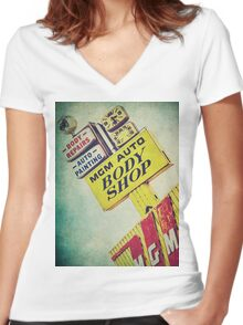 MGM Auto Body Shop Vintage Sign Women's Fitted V-Neck T-Shirt