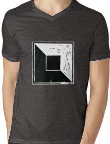 square minimal woodcut Mens V-Neck T-Shirt