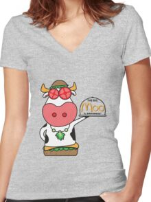 The Big Moo - now with extra beef! Women's Fitted V-Neck T-Shirt