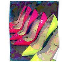 Hot Pink Yellow Heels  Poster