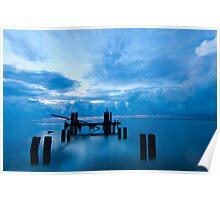 Broken Dock at Sunrise in Eastpoint Florida Poster