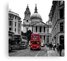 St Paul's Cathedral, London and a London Bus Canvas Print