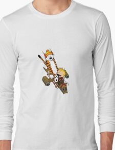 captain calvin and hobbes Long Sleeve T-Shirt
