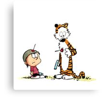 Calvin And Hobbes playing Canvas Print