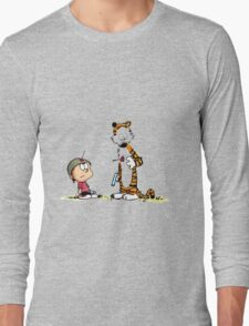 Calvin And Hobbes playing Long Sleeve T-Shirt