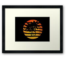 Palm Trees Grunge Sunset Framed Print