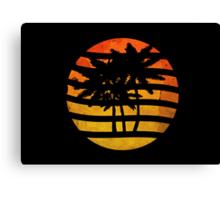 Palm Trees Grunge Sunset Canvas Print