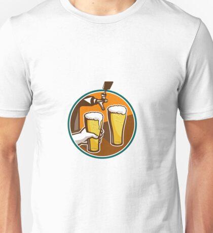 Beer Pint Glass Hand Tap Retro Unisex T-Shirt