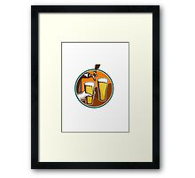 Beer Pint Glass Hand Tap Retro Framed Print