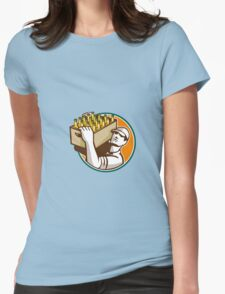 Bartender Carrying Beer Case Retro Womens Fitted T-Shirt