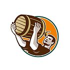 Bartender Pouring Drinking Keg Barrel Beer Retro by patrimonio