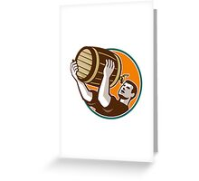 Bartender Pouring Drinking Keg Barrel Beer Retro Greeting Card