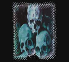 Happy Halloween Pile of Skulls in Teal Greeting Card Kids Clothes