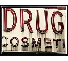Drugs Cosmetics old New York City Sign Photographic Print