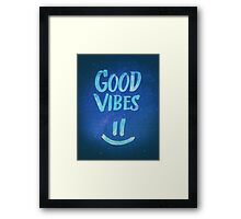 Good Vibes - Funny Smiley Statement / Happy Face (Blue Stars Edit) Framed Print
