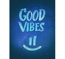 Good Vibes - Funny Smiley Statement / Happy Face (Blue Stars Edit) Photographic Print