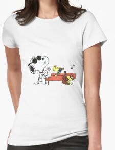 play music group snoopy Womens Fitted T-Shirt