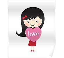 Cute cartoon girl holding a love heart Poster