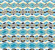 Blue Geometric Aztec Pattern by Silvia Neto