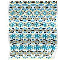 Blue Geometric Aztec Pattern Poster
