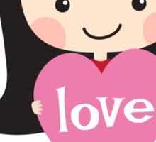 Cute cartoon girl holding a love heart Sticker