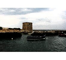 By the sea... tower and rowboats Photographic Print