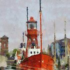 Lighthouse ship Helwick, Swansea, Wales in the style of Monet by buttonpresser