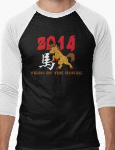 Born Year of The Horse 2014 Baby Men's Baseball ¾ T-Shirt