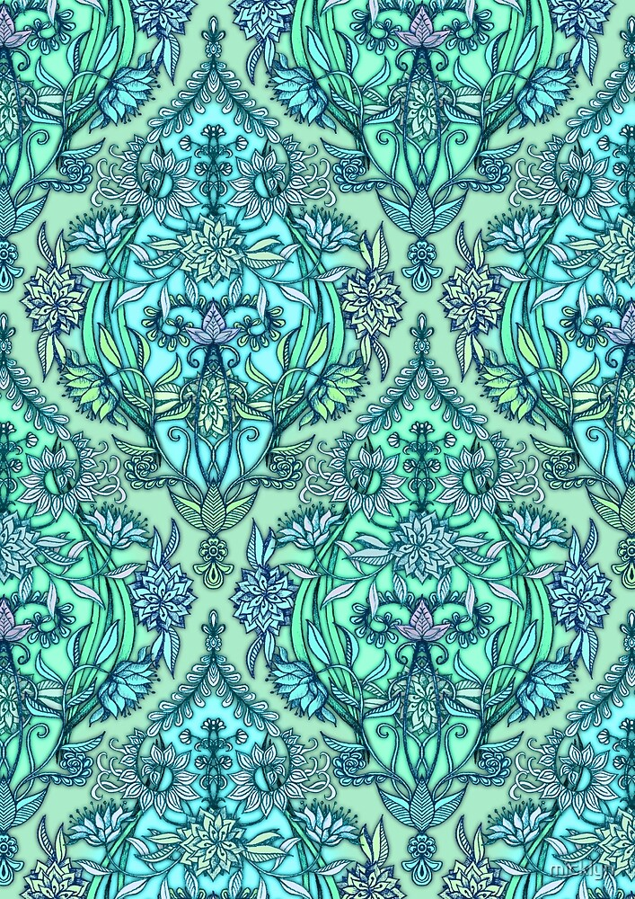 Botanical Moroccan Doodle Pattern in Mint Green, Lilac & Aqua by micklyn