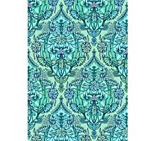 Botanical Moroccan Doodle Pattern in Mint Green, Lilac & Aqua Photographic Print