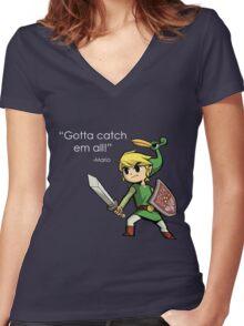 Childhood Destruction (Pokemon, Zelda, Mario) Women's Fitted V-Neck T-Shirt