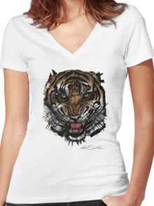 Tiger Face (Signature Design) Women's Fitted V-Neck T-Shirt