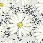 Bright Yellow and Black Floral Daisy Design by rozine