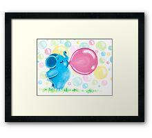 Bubbles - Rondy loves bubble gum Framed Print