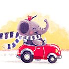 Car Trip - Rondy the Elephant driving his car by oksancia